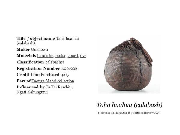 Taha huahua from Te Papa